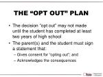 the opt out plan