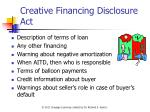creative financing disclosure act