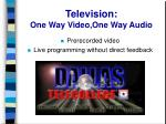 television one way video one way audio