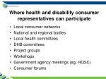 where health and disability consumer representatives can participate