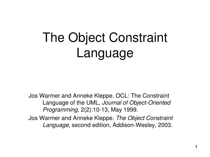 the object constraint language n.