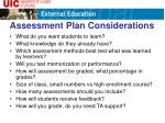 assessment plan considerations