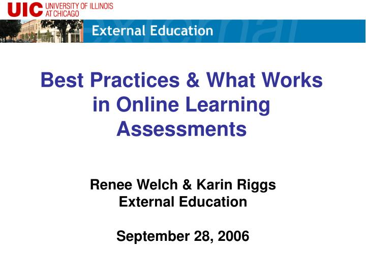 best practices what works in online learning assessments n.