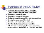 purposes of the lit review