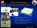 phase i positioning arcsecond triad indoor gps