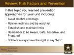 review risk factors and prevention