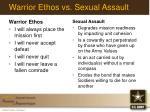 warrior ethos vs sexual assault
