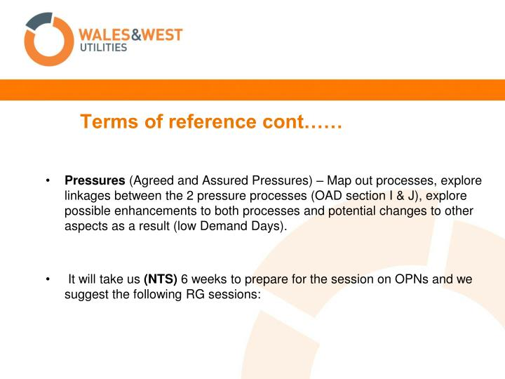 Terms of reference cont
