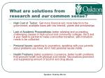 what are solutions from research and our common sense