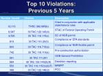 top 10 violations previous 5 years