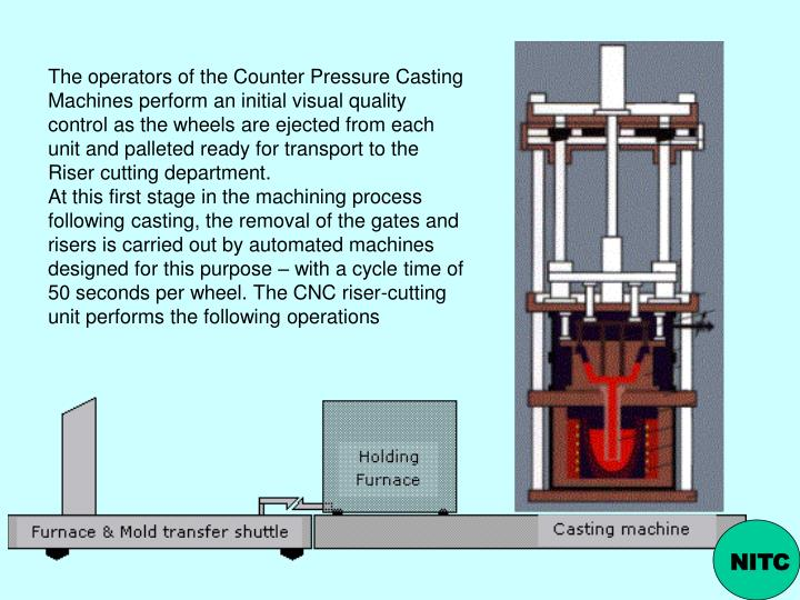 The operators of the Counter Pressure Casting Machines perform an initial visual quality control as the wheels are ejected from each unit and palleted ready for transport to the Riser cutting department.