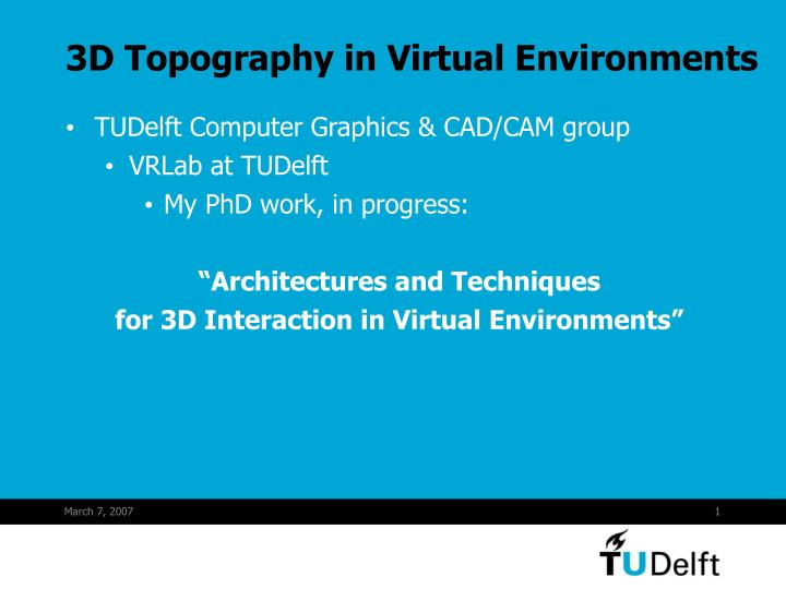 3d topography in virtual environments n.
