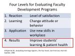four levels for evaluating faculty development programs