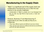 manufacturing in the supply chain