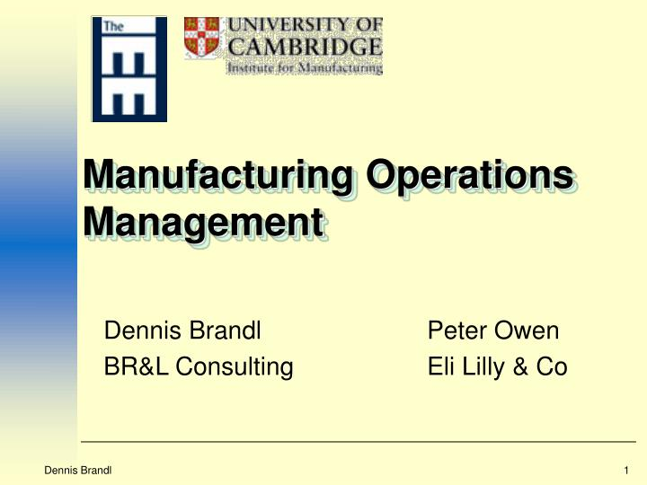 manufacturing operations management n.