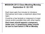 mission 2012 class meeting monday september 8 32 155