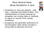 more general ideas about exceptions in java