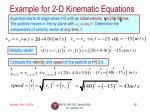 example for 2 d kinematic equations