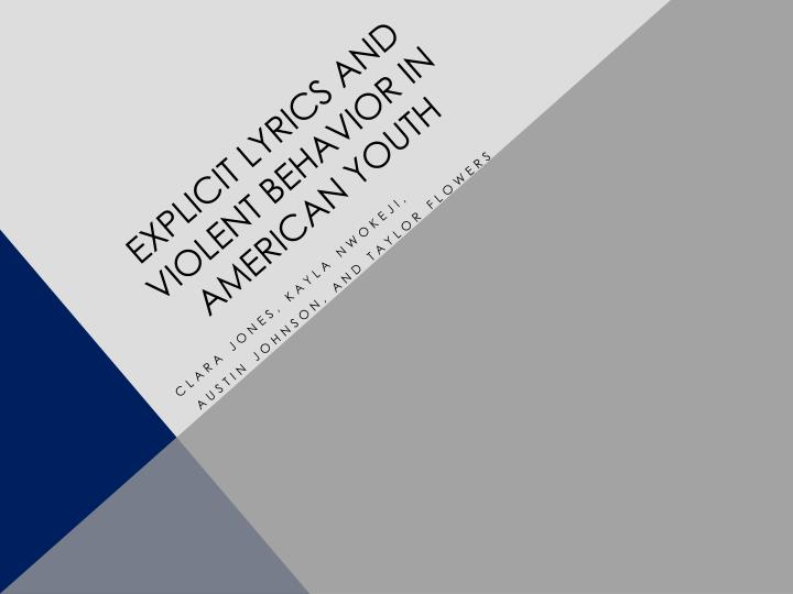 explicit lyrics and violent behavior in american youth n.
