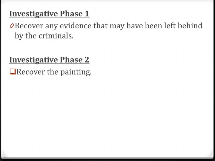 Investigative Phase