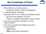 sky coordinates of points