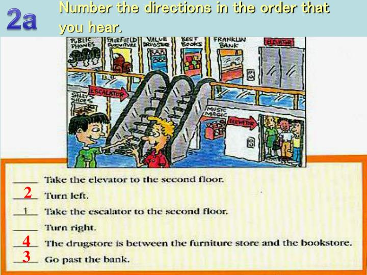 Number the directions in the order that