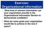 exercise organizational information