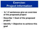 exercise project information