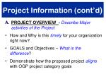 project information cont d