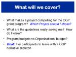 what will we cover