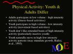 physical activity youth adults differ