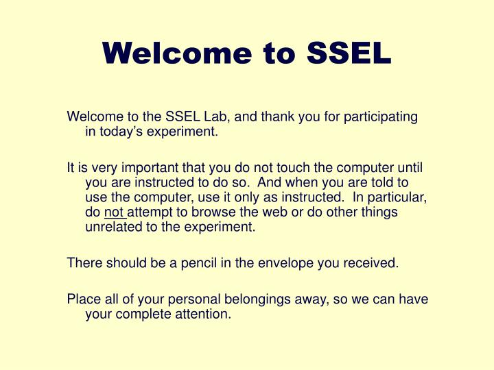 welcome to ssel n.