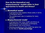how do the biomedical and biopsychosocial models differ in their approaches to health and illness