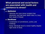what personal and social factors are associated with health and resistance to stress