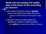 what roles do hassles and uplifts play in the stress of life according to lazarus