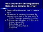 what was the social readjustment rating scale designed to reveal