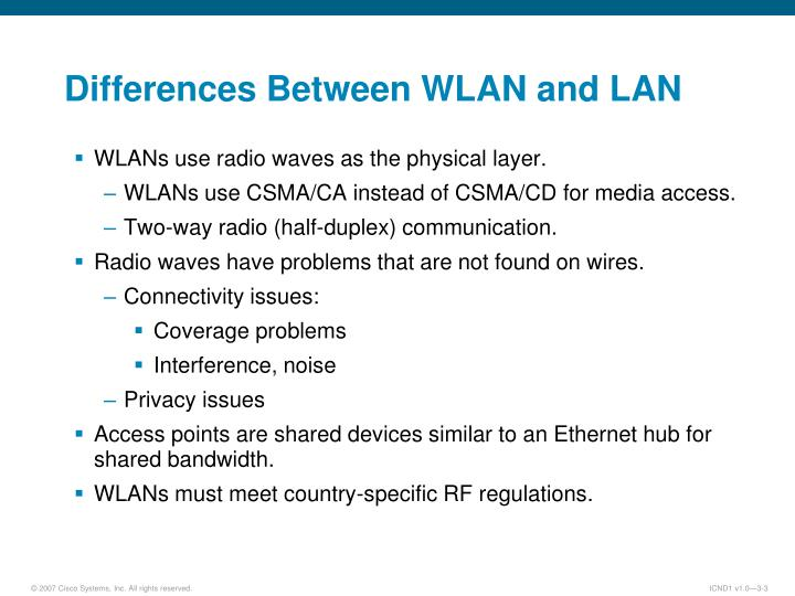 Differences between wlan and lan