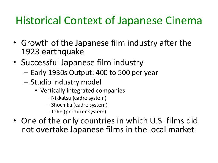 Historical context of japanese cinema