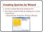 creating queries by wizard