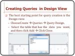 creating queries in design view