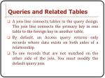 queries and related tables