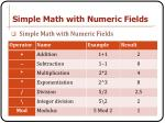 simple math with numeric fields
