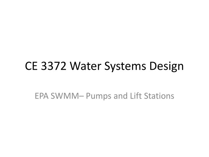 ce 3372 water systems design n.