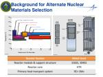 background for alternate nuclear materials selection