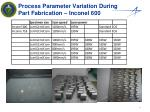 process parameter variation during part fabrication inconel 600