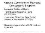 hispanic community of maryland demographic snapshot1