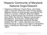 hispanic community of maryland national origin descent