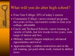 what will you do after high school