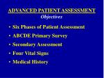 advanced patient assessment objectives