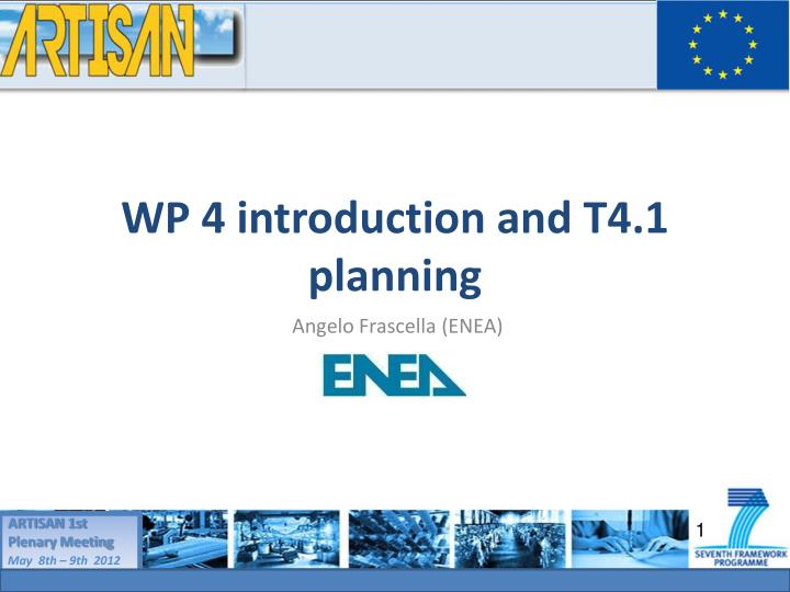 wp 4 introduction and t4 1 planning n.
